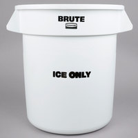 Rubbermaid FG9F8600WHT ProServe 10 Gallon White ICE ONLY Brute Container