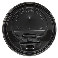 Choice 10, 12, 16, and 20 oz. Black Hot Paper Cup Travel Lid with Hinged Tab - 100/Pack