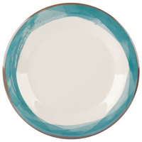 GET WP-7-DI-KNB Kanello 7 1/2 inch Round Diamond Ivory Wide Rim Melamine Plate with Kanello Blue Edge - 48/Case