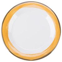 GET WP-9-DW-KNY Kanello 9 inch Round Diamond White Wide Rim Melamine Plate with Kanello Yellow Edge - 24/Case