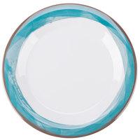 """GET WP-9-DW-KNB Kanello 9"""" Round Diamond White Wide Rim Melamine Plate with Kanello Blue Edge - 24/Case"""