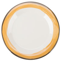 GET WP-9-DI-KNY Kanello 9 inch Round Diamond Ivory Wide Rim Melamine Plate with Kanello Yellow Edge - 24/Case