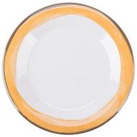GET WP-7-DW-KNY Kanello 7 1/2 inch Round Diamond White Wide Rim Melamine Plate with Kanello Yellow Edge - 48/Case