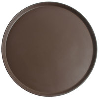 Cambro 1950CT138 Camtread® 20 inch Round Tavern Tan Non-Skid Low Profile Serving Tray - 12/Case