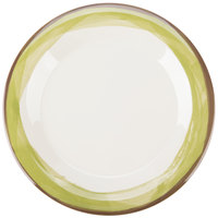 GET WP-9-DI-KNG Kanello 9 inch Round Diamond Ivory Wide Rim Melamine Plate with Kanello Green Edge - 24/Case
