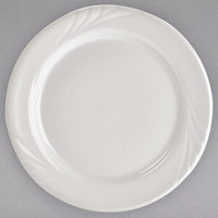 Tuxton YEA-096 Monterey 9 3/4 inch Eggshell Embossed Rim China Plate - 24/Case