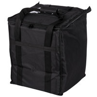 Choice Soft-Sided Insulated Food Delivery Bag, Black Nylon, 13 inch x 13 inch x 15 1/2 inch - Holds (6) 2 1/2 inch Deep 1/2 Size Pans or (18) 2 Qt. Container