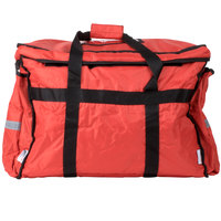 ServIt 22 inch x 13 inch x 16 inch Red Soft-Sided Heavy-Duty Nylon Insulated Food Delivery Bag / Pan Carrier - Holds Up To (6) 2 1/2 inch or (5) 3 inch Deep Full Size Food Pans