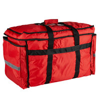 ServIt Heavy-Duty Insulated Red Nylon Soft-Sided Food Delivery Bag / Pan Carrier, 22 inch x 13 inch x 16 inch