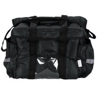 ServIt Heavy-Duty Insulated Black Nylon Sandwich / Take-Out Delivery Bag