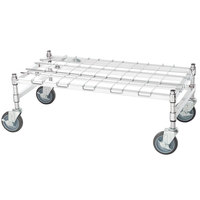 Regency 18 inch x 36 inch Heavy-Duty Mobile Chrome Dunnage Rack with Mat
