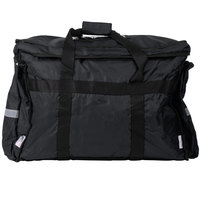 ServIt Heavy-Duty Insulated Black Nylon Soft-Sided Food Delivery Bag / Pan Carrier