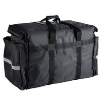 ServIt Heavy-Duty Insulated Black Nylon Soft-Sided Food Delivery Bag / Pan Carrier, 22 inch x 13 inch x 16 inch