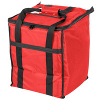 Choice Soft-Sided Insulated Food Delivery Bag, Red Nylon, 13 inch x 13 inch x 15 1/2 inch - Holds (6) 2 1/2 inch Deep 1/2 Size Pans or (18) 2 Qt. Container
