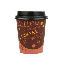 Choice 8 oz. Coffee Print Poly Paper Hot Cup and Lid - 100/Pack