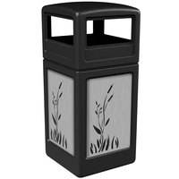 Commercial Zone 732996199 Precision Series 42 Gallon Black Trash Receptacle with Stainless Steel Cattail Panels and Dome Lid