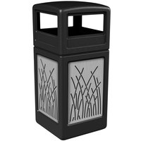 Commercial Zone 732916199 Precision Series 42 Gallon Black Trash Receptacle with Stainless Steel Reed Panels and Dome Lid