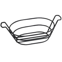 Clipper Mill by GET 4-33785 8 1/2 inch x 6 inch Black Iron Powder Coated Oval Basket with Handles