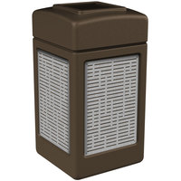 Commercial Zone 734062 Precision Series 42 Gallon Brown Trash Receptacle with Stainless Steel Horizontal Line Panels