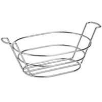 Clipper Mill by GET 4-22785 8 1/2 inch x 6 inch Stainless Steel Oval Basket with Handles