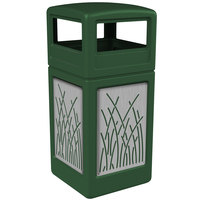 Commercial Zone 732916099 Precision Series 42 Gallon Green Trash Receptacle with Stainless Steel Reed Panels and Dome Lid