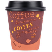 Choice 10 oz. Coffee Print Poly Paper Hot Cup and Lid - 100/Pack