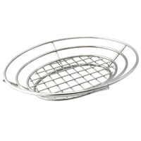 Clipper Mill by GET 4-83824 11 inch x 8 inch Stainless Steel Oval Basket with Raised Grid Base