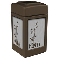 Commercial Zone 733962 Precision Series 42 Gallon Brown Trash Receptacle with Stainless Steel Cattail Panels