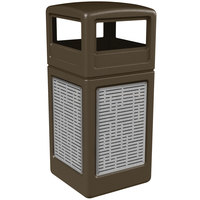 Commercial Zone 732906299 Precision Series 42 Gallon Brown Trash Receptacle with Stainless Steel Horizontal Line Panels and Dome Lid