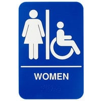9 inch x 6 inch Blue and White Women Sign with Braille
