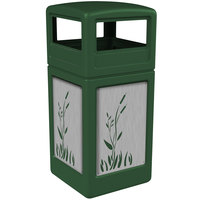 Commercial Zone 732996099 Precision Series 42 Gallon Green Trash Receptacle with Stainless Steel Cattail Panels and Dome Lid