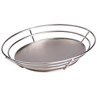 Clipper Mill by GET 4-83850 11 1/4 inch x 8 1/4 inch Stainless Steel Oval Basket with Raised Solid Bottom