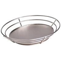 GET 4-83850 11 1/4 inch x 8 1/4 inch Stainless Steel Oval Basket with Raised Solid Bottom