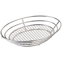 Clipper Mill by GET 4-84814 12 1/2 inch x 9 1/4 inch Stainless Steel Oval Basket with Raised Grid Base