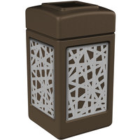 Commercial Zone 734262 Precision Series 42 Gallon Brown Trash Receptacle with Stainless Steel Intermingle Panels