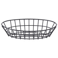 GET 4-30144 9 3/4 inch x 6 1/4 inch Black Iron Powder Coated Oval Grid Basket
