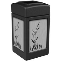 Commercial Zone 733961 Precision Series 42 Gallon Black Trash Receptacle with Stainless Steel Cattail Panels