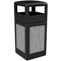 Commercial Zone 732906199 Precision Series 42 Gallon Black Trash Receptacle with Stainless Steel Horizontal Line Panels and Dome Lid
