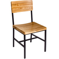 BFM Seating JS33CNTW-SB Memphis Sand Black Steel Side Chair with Natural Ash Wooden Back and Seat