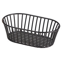 GET 4-31892 8 1/2 inch x 5 1/2 inch Black Iron Powder Coated Short Oval Tuscan Basket