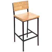 BFM Seating JS33BNTW-SB Memphis Sand Black Steel Bar Height Chair with Natural Ash Wooden Back and Seat