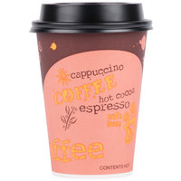 Choice 12 oz. Coffee Print Poly Paper Hot Cup and Lid - 100/Pack