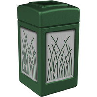 Commercial Zone 734160 Precision Series 42 Gallon Green Trash Receptacle with Stainless Steel Reed Panels