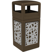 Commercial Zone 732926299 Precision Series 42 Gallon Brown Trash Receptacle with Stainless Steel Intermingle Panels and Dome Lid