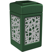 Commercial Zone 734260 Precision Series 42 Gallon Green Trash Receptacle with Stainless Steel Intermingle Panels