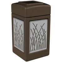 Commercial Zone 734162 Precision Series 42 Gallon Brown Trash Receptacle with Stainless Steel Reed Panels