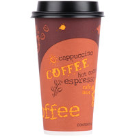 Choice 20 oz. Coffee Print Poly Paper Hot Cup and Lid - 100/Pack