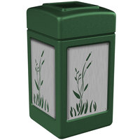 Commercial Zone 733960 Precision Series 42 Gallon Green Trash Receptacle with Stainless Steel Cattail Panels