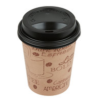 Choice 8 oz. Cafe Print Poly Paper Hot Cup and Lid - 100/Pack