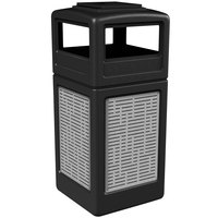 Commercial Zone 733006199 Precision Series 42 Gallon Black Trash Receptacle with Stainless Steel Horizontal Line Panels and Ashtray Lid